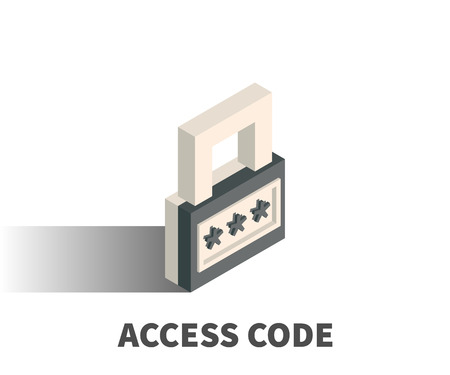 Access code icon, vector symbol in isometric 3D style isolated on white background.