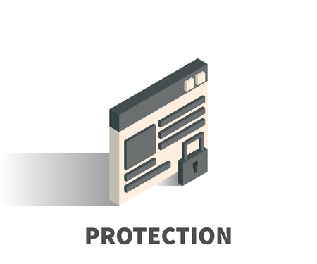 Protection icon, vector symbol in isometric 3D style isolated on white background. Ilustração