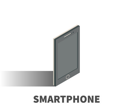smartphone: Smartphone icon, vector symbol in isometric 3D style isolated on white background. Illustration