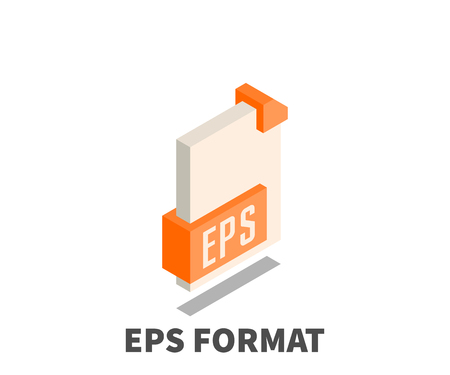 Image file format EPS icon, vector symbol in isometric 3D style isolated on white background.