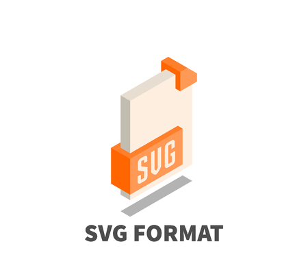 svg: Image file format SVG icon, vector symbol in isometric 3D style isolated on white background.