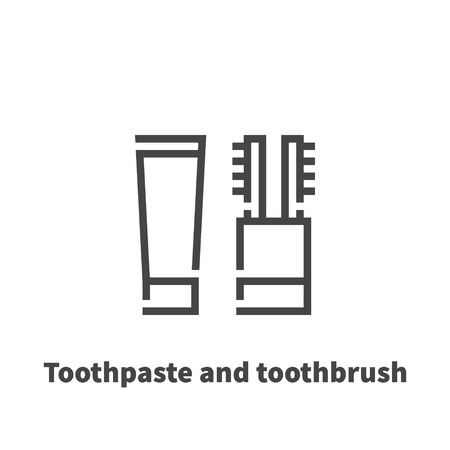 Toothpaste and toothbrush icon, vector symbol in line style isolated on white background. Illustration