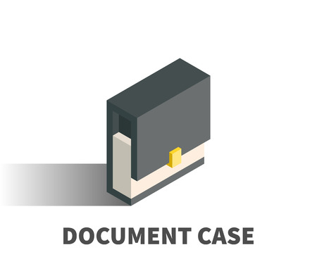 Document case icon, vector symbol in isometric 3D style isolated on white background. Illustration