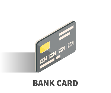 business card template: Bank card icon, vector symbol in isometric 3D style isolated on white background. Illustration