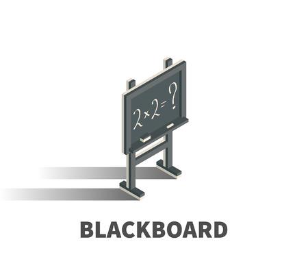mathematics: Blackboard icon, vector symbol in isometric 3D style isolated on white background. Illustration