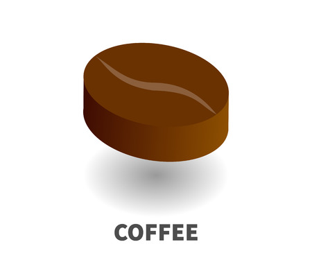 Coffee bean icon, vector symbol in isometric 3D style isolated on white background. Imagens - 86002898
