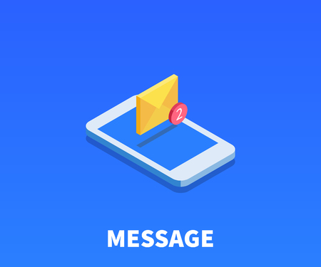 phone: Envelope, message icon, illustration, vector symbol in flat isometric 3D style isolated on color background.