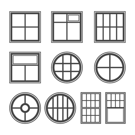 windows frame: Window icon set, vector symbol in outline flat style isolated on white background.