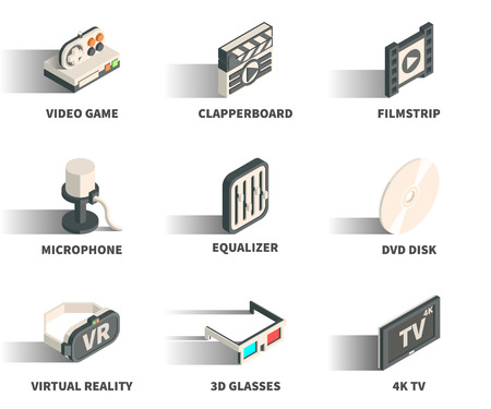 Isometric 3D web icon set - Video game, clapperboard, filmstrip, microphone, equaliser, DVD disk, virtual reality, 3D glasses, 4K TV.