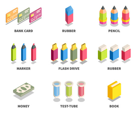 education concept: Simple Set of 3D Isometric Icons. Contains such Icons as bank card, rubber, pencil, marker, flash drive, money, test-tube, book.