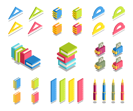education concept: Simple Set of 3D Isometric Icons. Contains such Icons as ruler, book, protractor, wallet, money, pen, notebook.