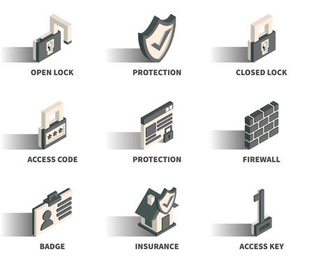 Isometric 3D web icon set - Lock, protection, access code, firewall, badge, insurance, key