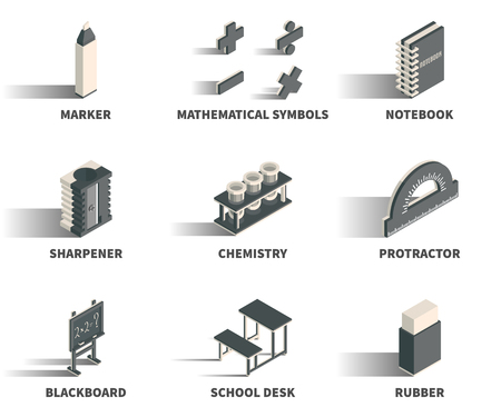 education concept: Simple Set of 3D Isometric Icons. Contains such Icons as marker, mathematical symbols, notebook, sharpener, chemistry, protractor, blackboard, school desk, rubber. Illustration