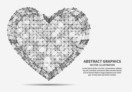 Heart, vector illustration for minimalistic design. Network connections with points and lines. Abstract technology background. Vectores