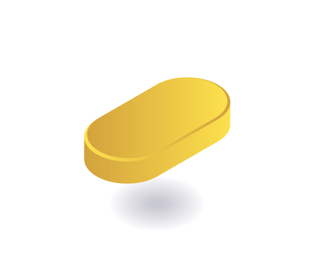 Yellow pill icon. Vector illustration in flat isometric 3D style. Ilustracja