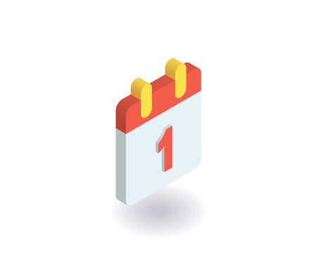 Calendar icon. Vector illustration in flat isometric 3D style.