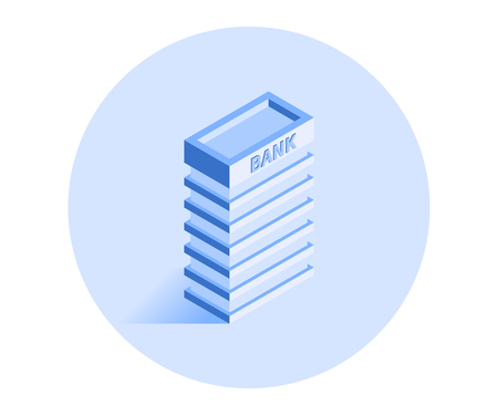 Building icon. Vector illustration in flat isometric 3D style.