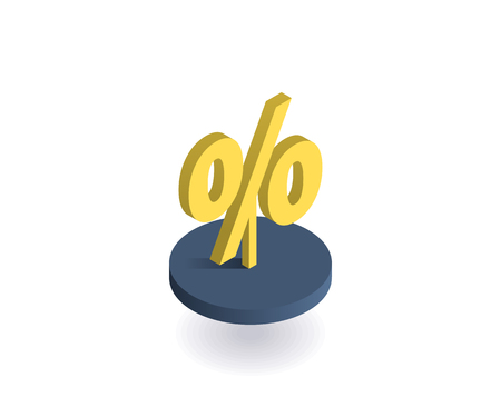 Percent symbol icon. Vector illustration in flat isometric 3D style.
