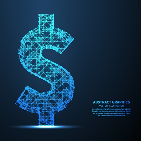 Abstract dollar sign, vector illustration. Network connections with points and lines. Abstract technology background. Illustration