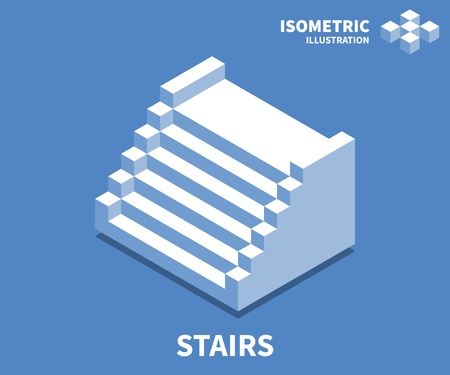 Stairs icon, vector illustration in flat isometric 3D style. Illustration
