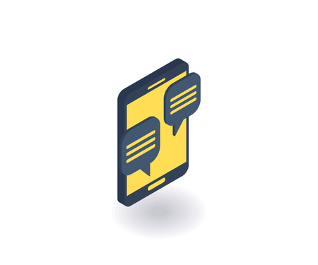 Mobile chat icon, vector illustration in flat isometric 3D style. Çizim