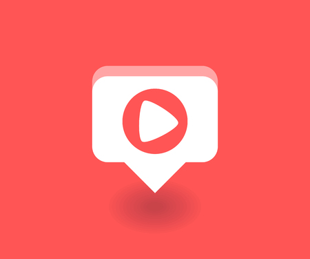 Play icon, vector symbol in flat style isolated on red background. Social media illustration.  イラスト・ベクター素材