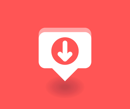 Down arrow icon, vector symbol in flat style isolated on red background. Social media illustration. Illustration