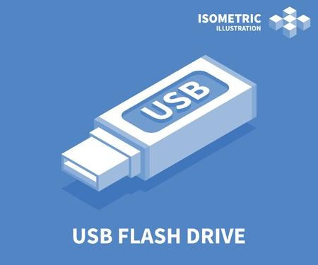 Icône de clé USB. Modèle isométrique pour la conception Web dans un style 3D plat. Illustration vectorielle.