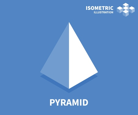 Pyramid icon. Isometric template for web design in flat 3D style. Vector illustration.