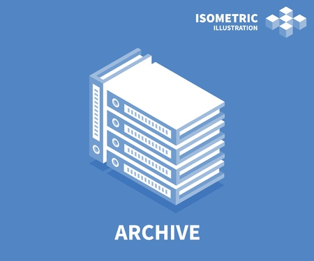 Archive icon. Isometric template for web design in flat 3D style. Vector illustration.