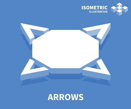 Arrows icon. Isometric template for web design in flat 3D style. Vector illustration.