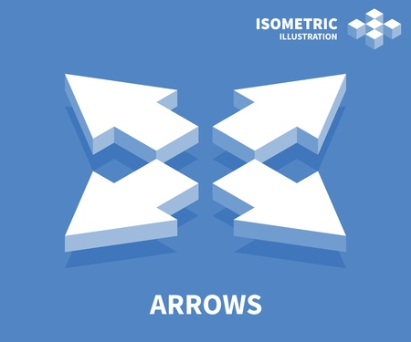 Arrows icon. Isometric template for web design in flat 3D style. Vector illustration. Vecteurs