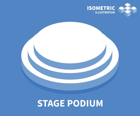 Stage podium icon. Isometric template for web design in flat 3D style. Vector illustration.