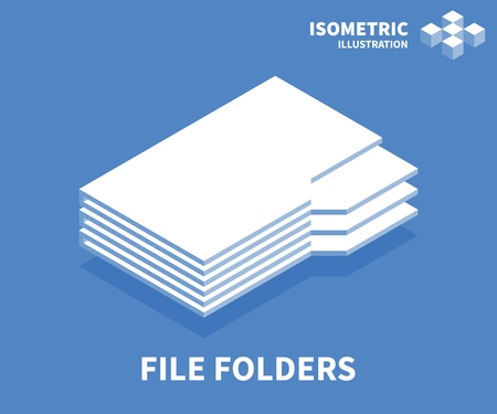 File folders icon. Isometric template for web design in flat 3D style. Vector illustration. Illustration