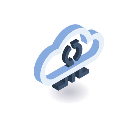 Cloud technologies isometric icon. Vector 3D illustration for web design. Vectores