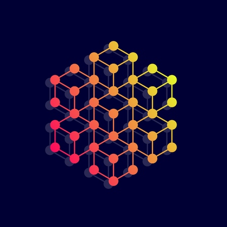Hexagon icon. Network connections with points and lines. Vector illustration. Vectores