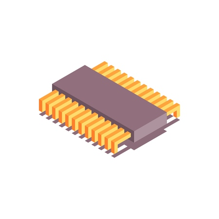 Microchip isometric icon. CPU, Central processing unit, computer processor. Abstract technology illustration.