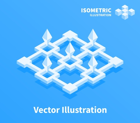 Abstract geometric composition. 3d pixel art illustration.