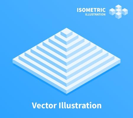 Icône de la pyramide. Composition géométrique. Illustration d'art pixelisé 3D.