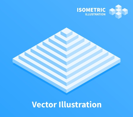 Pyramid icon. Geometric composition. 3d pixel art illustration.