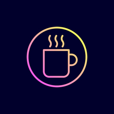 Coffee cup icon. Vector illustration in flat line style. Illustration