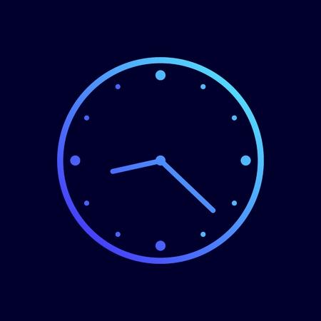 Clock icon. Vector illustration in flat line style. Illustration