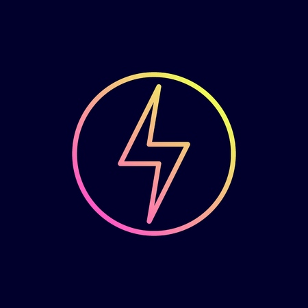 Electricity icon. Vector illustration in flat line style. Illustration