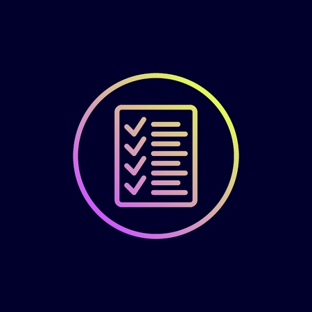 Check list icon. Vector illustration in flat line style.