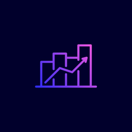 Revenue growth icon. Vector illustration in flat line style.