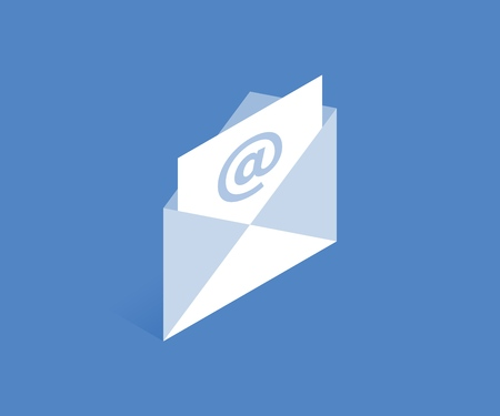 Letter and envelope icon. Vector illustration in flat isometric 3D style.