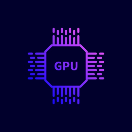 CPU GPU Processor Chip icon. Vector illustration in flat line style.