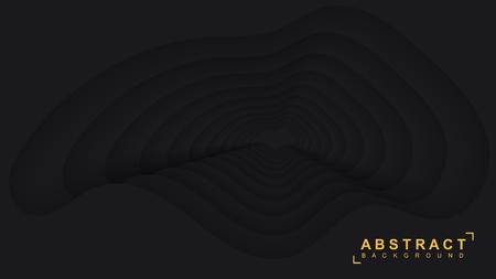 Black paper background. Vector geometric 3d illustration.