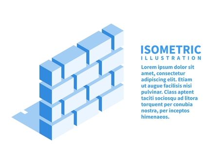 Brick wall, firewall icon. Isometric template for web design in flat 3D style. Vector illustration.