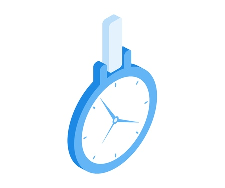 Clock icon. Vector illustration in flat isometric 3D style. Ilustração